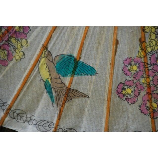 Vintage Asian Rice Paper Floral Umbrella - Image 4 of 10