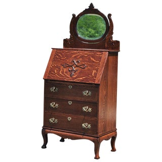 Antique Tiger Oak Victorian Ladies Drop Front Secretary Desk