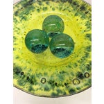 Image of Green Murano Glass Decorative Bowl with Balls on Stand
