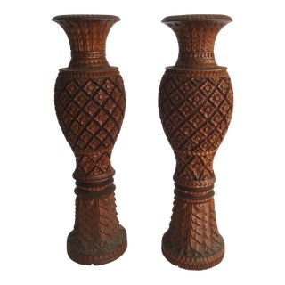 South East Asian Large Carved Wood Urn Lamp Bases- A Pair