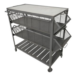 Industrial Metal Marble-Top Basket Trolley on Wheels
