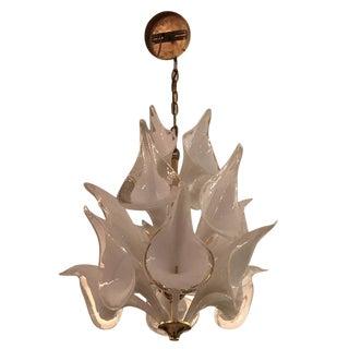 Mid-Century Italian Modern Camer Calla Lily Handblown Murano Glass Chandelier