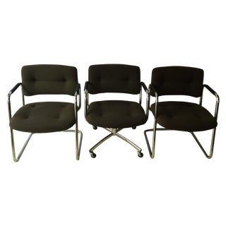 Olive Steelcase 421 Chairs - Set of 3