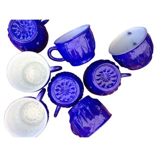 Blue Hand Painted Punch Cups - Set of 8
