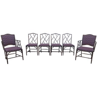 Hollywood Regency Style Faux Bamboo Dining Chairs - Set of 6