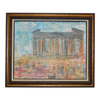 1970s Original Roman Ruins Oil Painting by Pascal Cucaro