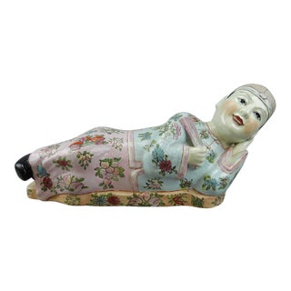 Large Chinese Famille Rose Opium Pillow Figure
