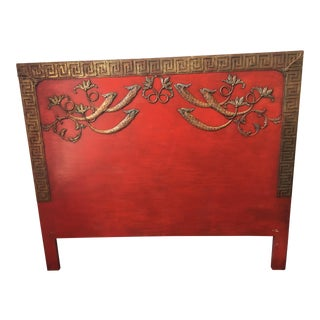 Asian Red Wooden Queen Headboard