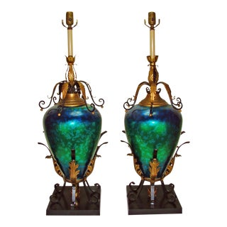 Huge Italian Mid-Century Iridescent Blue Green & Gold Metal Tole Table Lamps