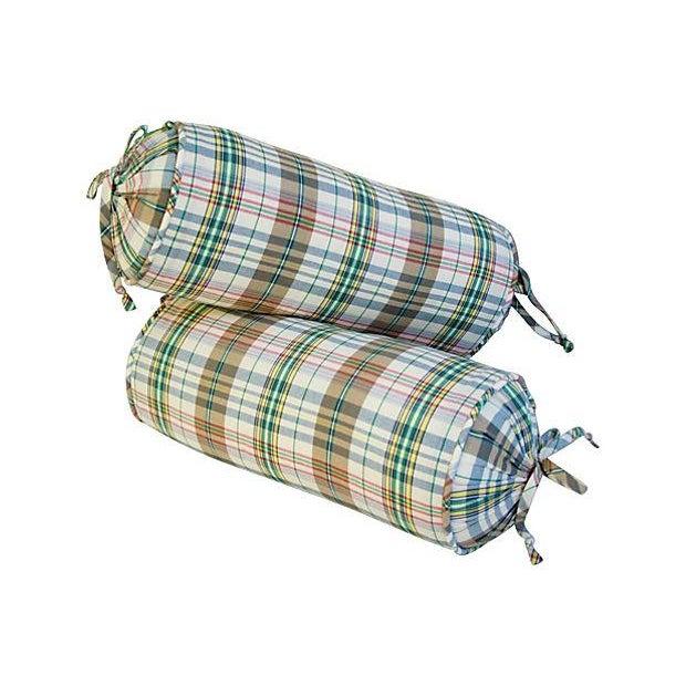 Custom Ralph Lauren Madras Bolster Pillows - Pair - Image 5 of 6