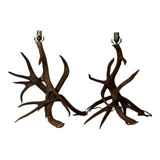Rustic Deer Antler Lamps - A Pair
