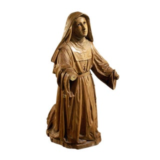 Boxwood Carving of a Praying Nun