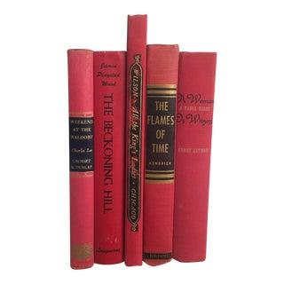 Mid-Century Red, Black & Gold Books - Set of 5