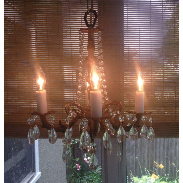 Petite Brass and Crystal 4 Light Chandelier - Image 2 of 7