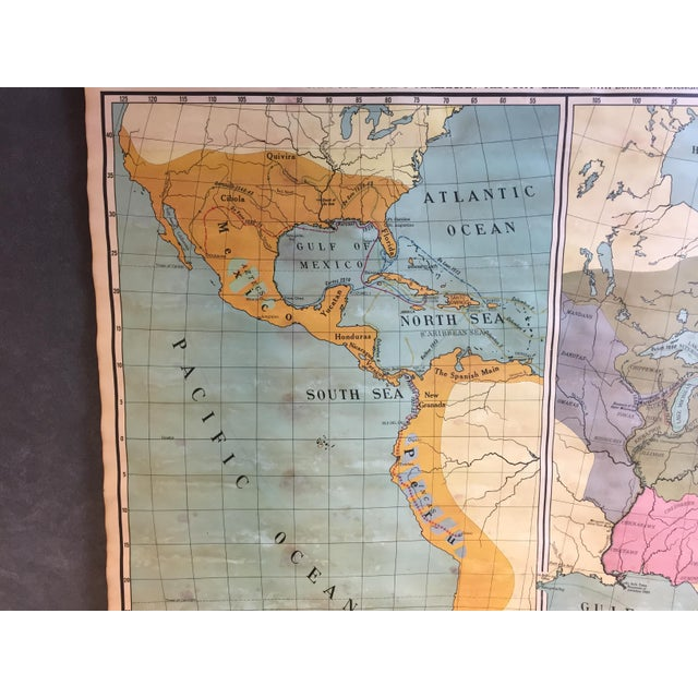Vintage North & South America Pull Down Wall Map - Early Paper on Linen - Image 3 of 11