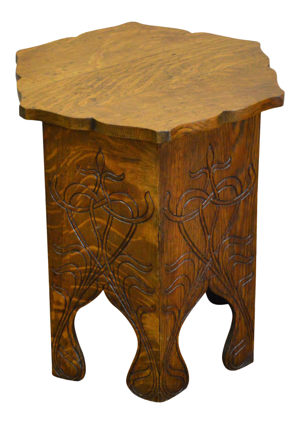 Superior Antique Oak Arts U0026 Crafts Style Plant Stand Taboret Low Table