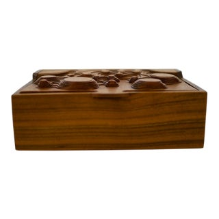 Interesting Studio Made Carved Box in Walnut