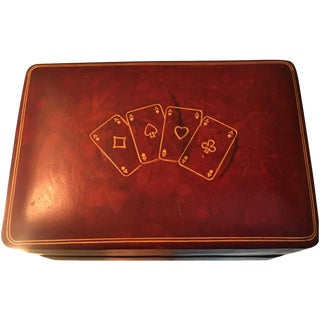 Vintage Italian Leather Card Box