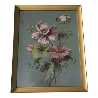 Mid-Century Flowers on Silver Board Signed Rieman Painting