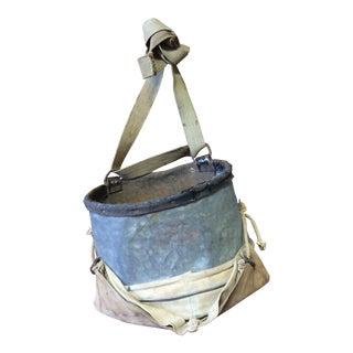 Vintage Apple Picking Bag in Galvanized Metal and Burlap