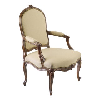 French Walnut & Linen Chair - 19th C.