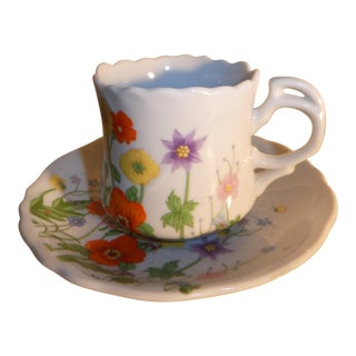 1960's Wild Flower Tea Cup and Saucer