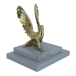 Vintage Bronze Eagle On Marble Platform Base