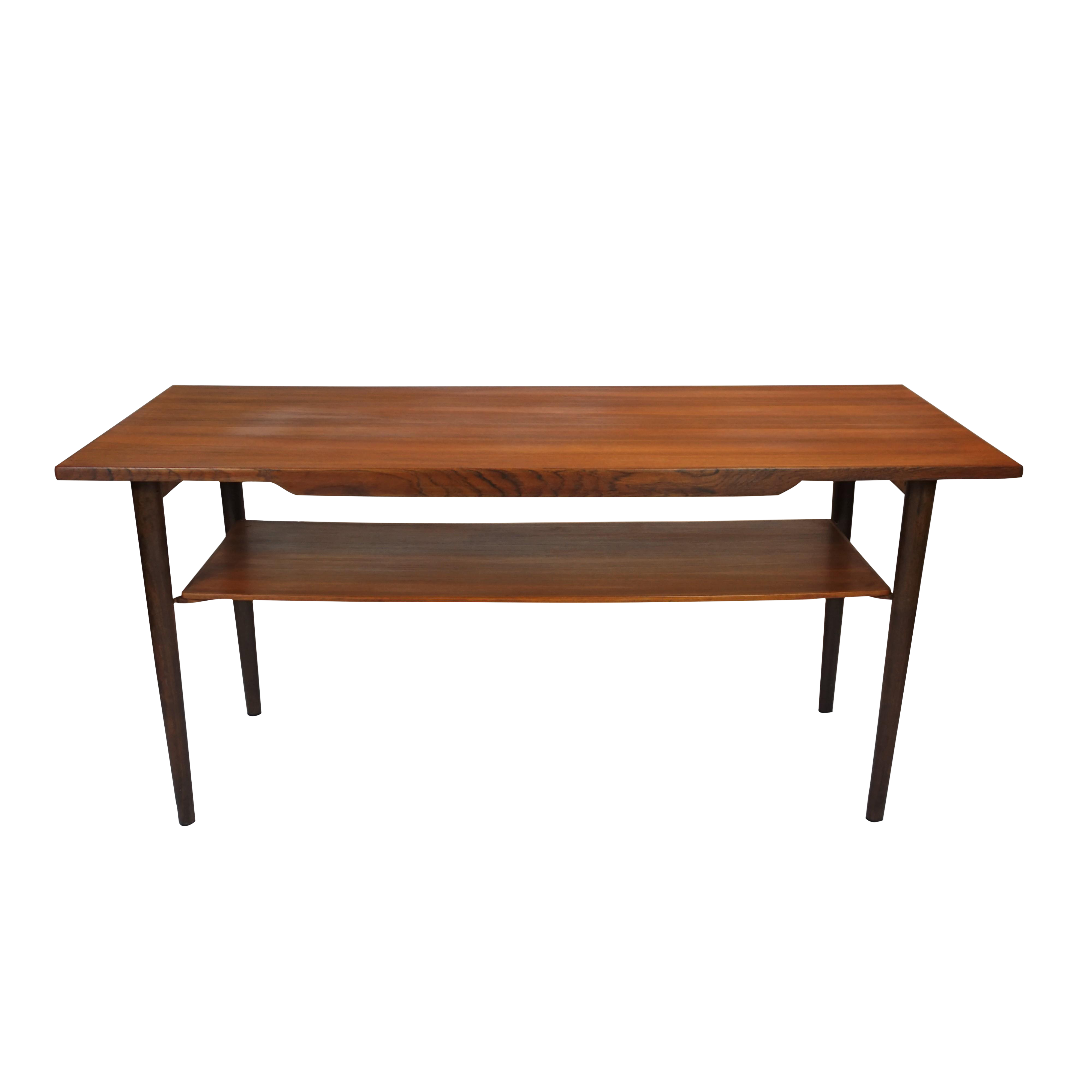 Danish Teak Coffee Table With Lower Shelf