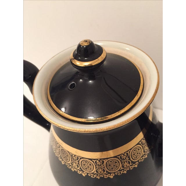 """Black and Gold Hollywood Regency """"Hall Usa"""" Teapot - Image 7 of 9"""
