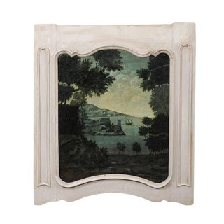 French Late 19th Century Trumeau Painting in Green Tones with Medieval Tower