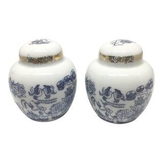 Vintage Chinoiserie Blue & White Ginger Jar Salt & Pepper Shaker Set- A Pair