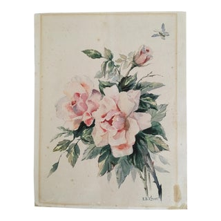 Antique Watercolor of Pink Roses Signed by I.B.Elmer