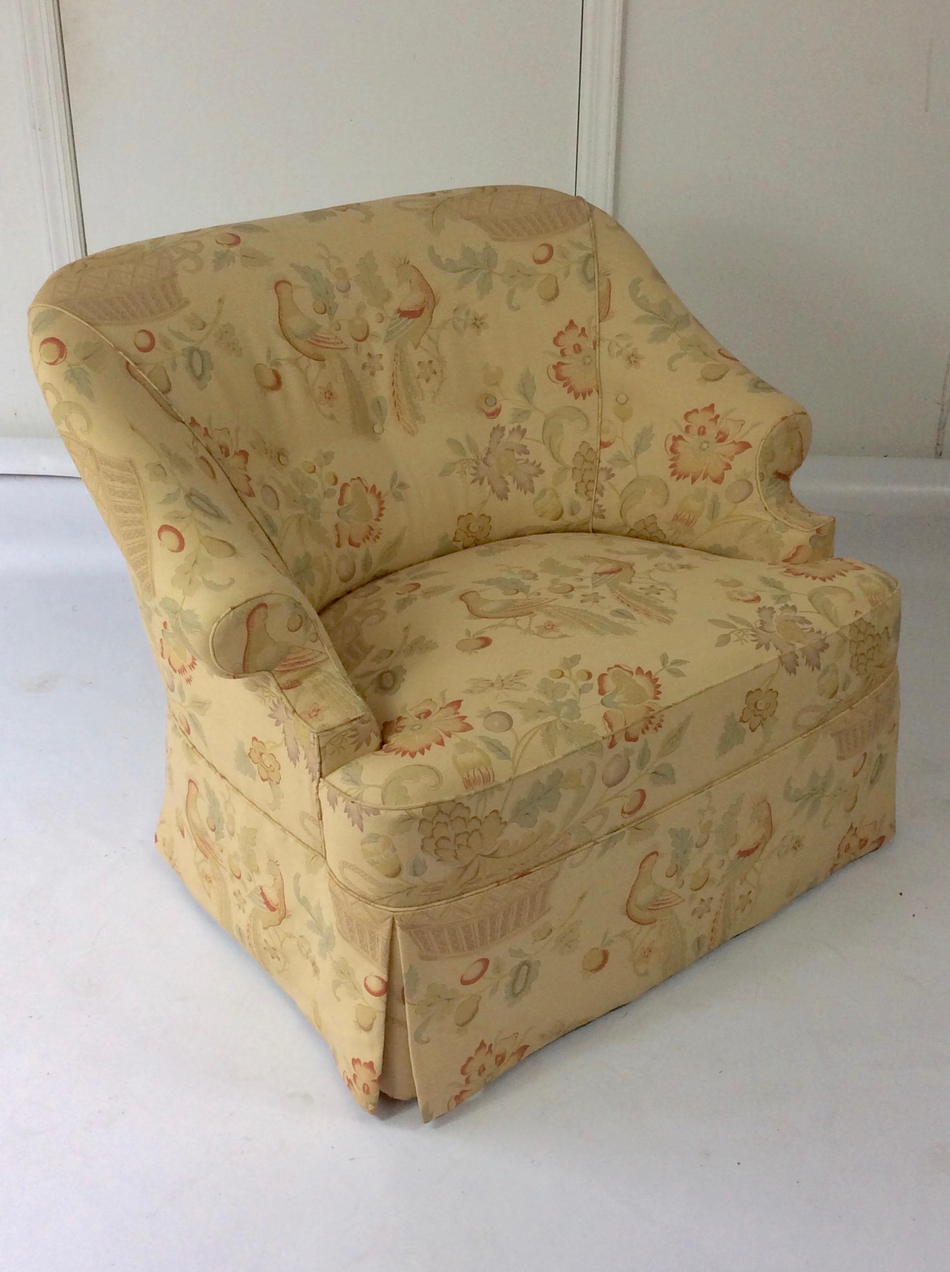 George Smith Style English Reading Chair, Custom Upholstered In Bennison  Linen   Image 3 Of