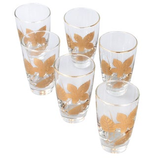 Vintage Gold Leaf Drinking Glasses - Set of 8