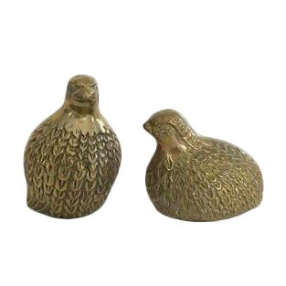 Vintage Gold Brass Quail Guinea Bird Figurines - Set of 2