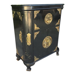 Antique Asian Chinoiserie Dry Bar Cabinet