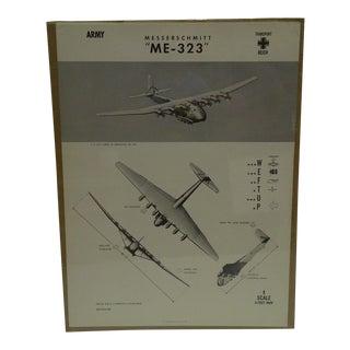 Circa 1944 WWIIAircraft Recognition Poster Messerschmitt Me 323 German