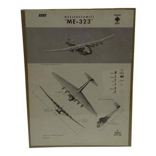 Circa 1944 WWIIAircraft Recognition Poster Messerschmitt Me 323 German