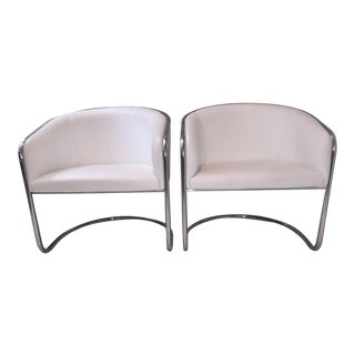 Vintage Thonet Barrel Back Lounge Chairs - a Pair