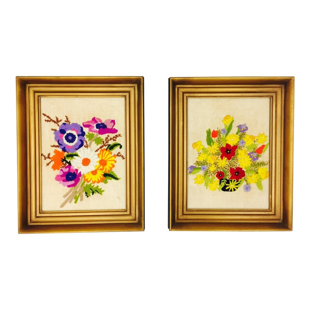 Vintage Floral Needlepoint Panels- A Pair - Image 1 of 7