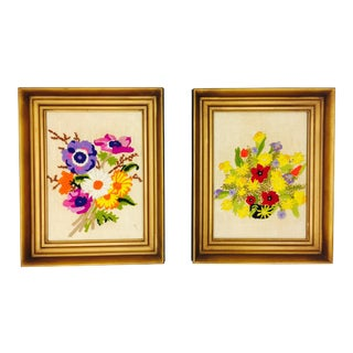 Vintage Floral Needlepoint Panels- A Pair