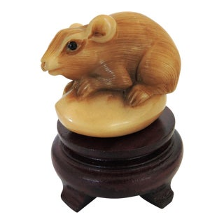 Netsuke Mouse on Stand