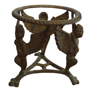 Vintage Solid Brass Display Stand With 3 Cherubs, Loin's Feet and Braided Round Top