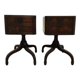 Tooled Leather Topped Side Tables - A Pair