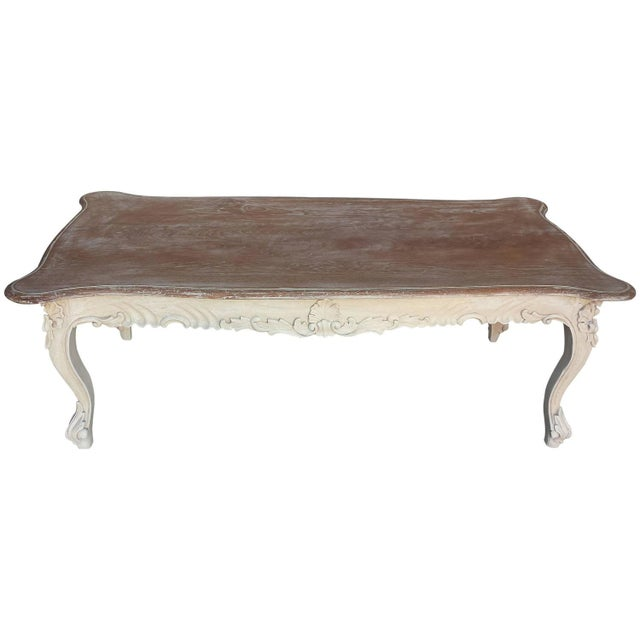 French Country Style Carved Coffee Table - Image 1 of 4