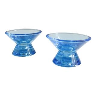 2 Iittala Finland Kartio Candle Holders Blue Kaj Franck