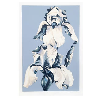 Lowell Blair Nesbitt -White Irises/Blue Serigraph