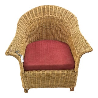 Burgundy Cushion Wicker Chair