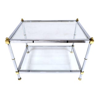 Vintage Mid-Century Modern Chrome and Brass Side Table