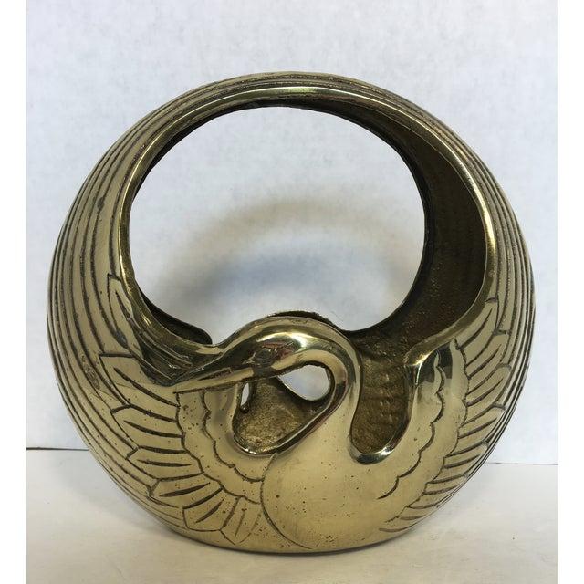 Art Deco Style Brass Swan Basket - Image 6 of 8